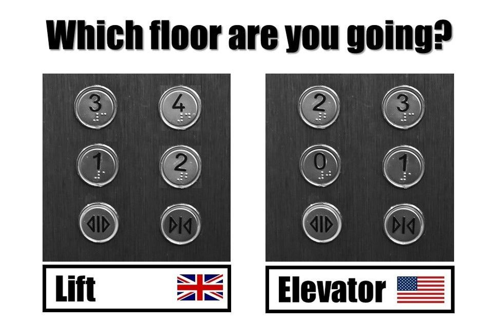 Cultural difference: Lift vs elevator, first floor vs ground floor